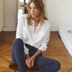 Sezane 100% silk boy shirt in cream